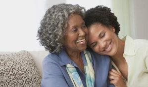 woman hugging a senior woman