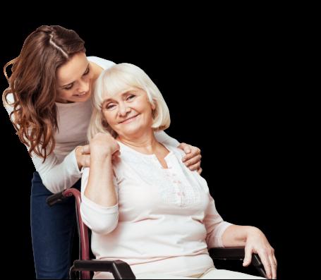 woman smiling at senior woman