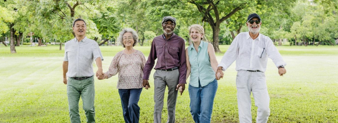 senior men and women laughing